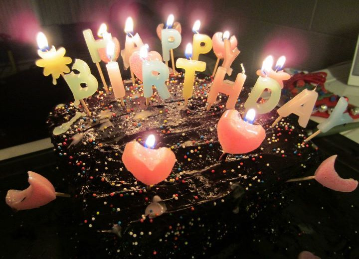 birthday cake with candles and name