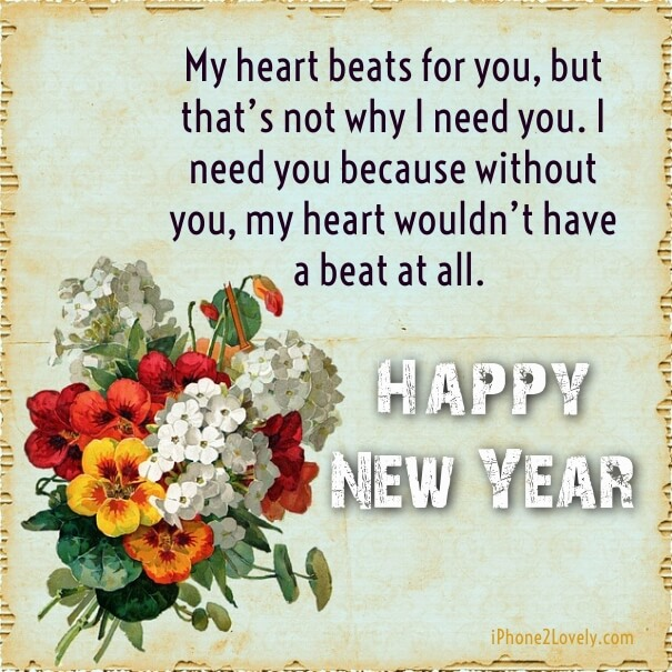 Real Romantic New Year 2018 Sayings Wishes Greeting Card