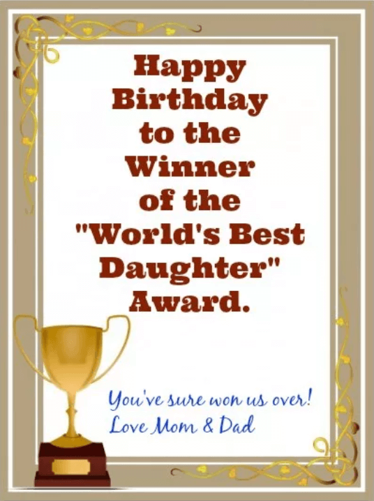 Birthday Award To Daughter From Mother