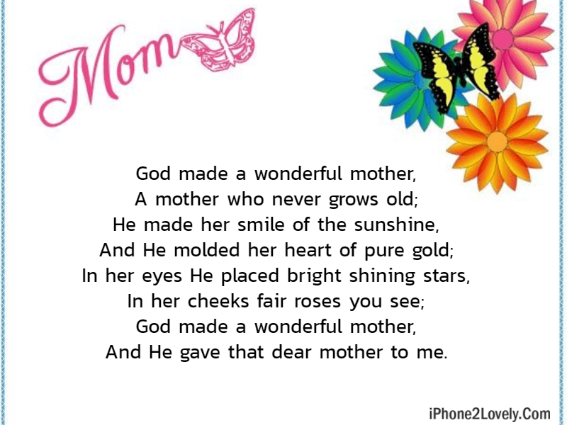 I Love You Mom Mothers Day Poems