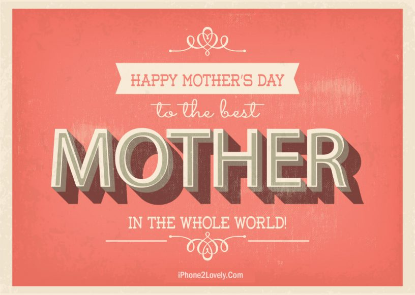 Mothers Day Orange Banner Greeting Ecard Wallpaper